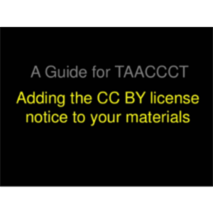 Adding the CC BY license to your materials (TAACCCT) icon