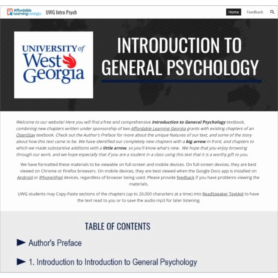 UWG Introduction to General Psychology