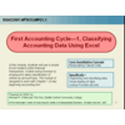 First Accounting Cycle, 1 -- Classifying Accounting Data Using Excel icon