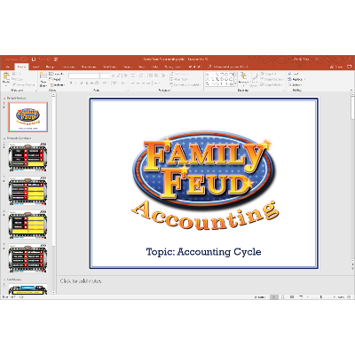 PowerPoint Family Feud game covering the accounting cycle in introductory financial accounting icon