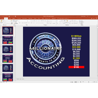 PowerPoint Who Wants to be a Millionaire game covering the accounting cycle in introductory financial accounting icon