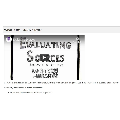 Research Guides: Evaluating Sources: The CRAAP Test