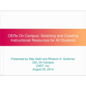 OERs On Campus – Selecting and Creating Instructional Resources for All Students icon