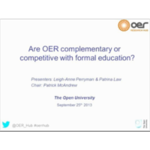 Are OER complementary or competitive with formal education? icon