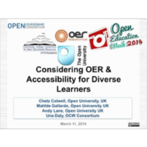 Considerations for OER and Accessibility for Diverse Learners icon