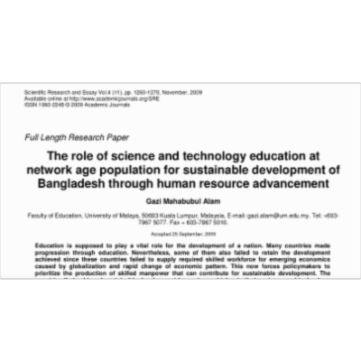 The role of science and technology education at network age population for sustainable development of Bangladesh through human resource advancement icon