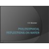 Philosophical Reflections on Water