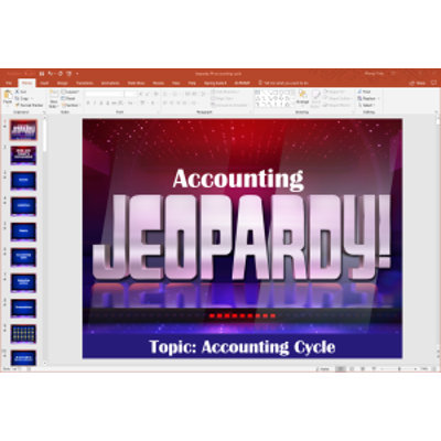 PowerPoint Jeopardy game covering PP&E, natural resources, and intangible assets in introductory financial accounting icon