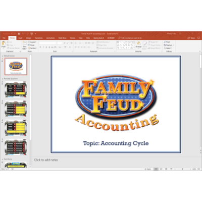 PowerPoint Family Feud game covering PP&E, natural resources, and intangible assets in introductory financial accounting icon