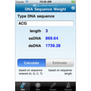 DNA/RNA/Protein and General Molecular Weight Calculator App for iOS icon